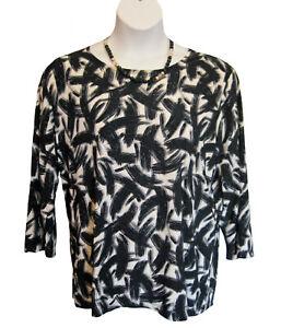 KNIT Shirt Tunic Top Plus Size 1X 14W 16W BRUSH STROKE BLACK White JM COLLECTION