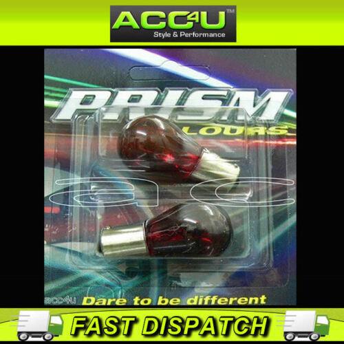 Prism 380 P21//5W 12v Car Van Red Colour Tinted Stop /& Tail Brake Light Bulbs Set