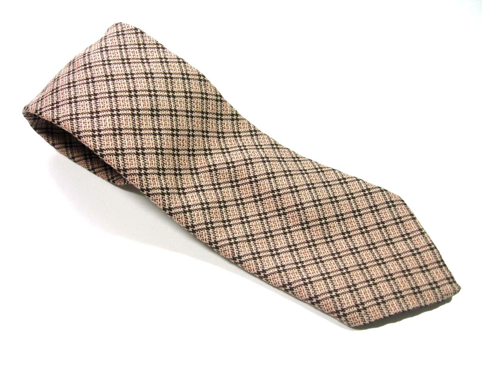 Belvedere Wiener creación Crema Marrón a Cuadros Corbata De Poliéster Corbata Vintage