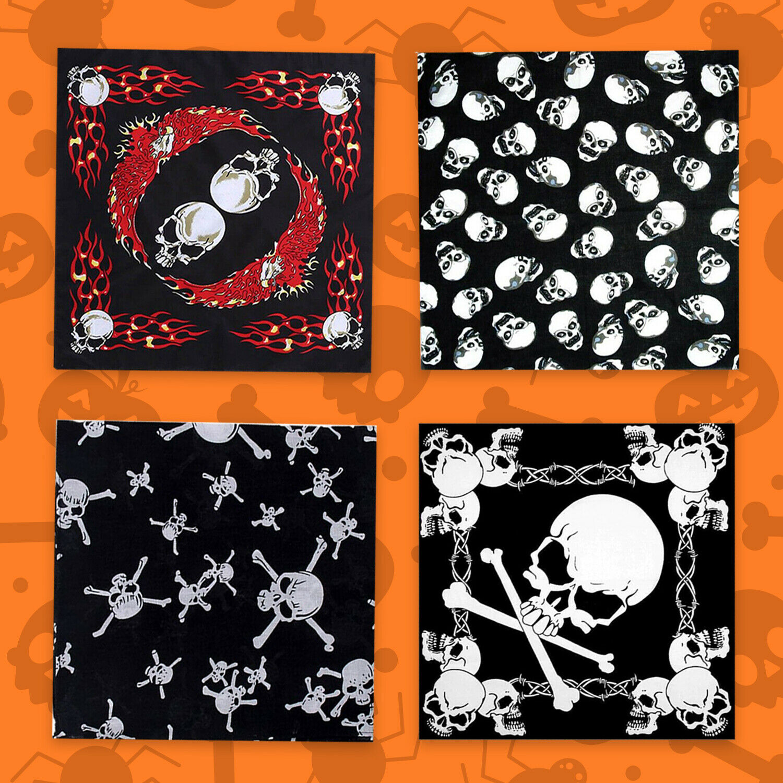 ☠️ Totenkopf Kopftuch Halstuch Gothic Kopfbedeckung Haarband Halloween Schwarz
