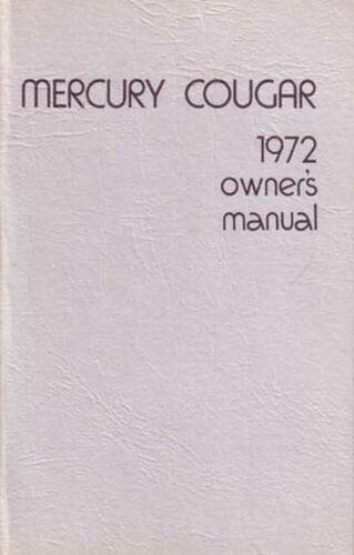 Bishko OEM Maintenance Owner/'s Manual Bound for Mercury Cougar 1972
