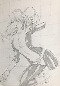 "Kitty Pryde (9""x12"") Original Art Comic Sexy Pinup By Jean - Ed Benes Studio"