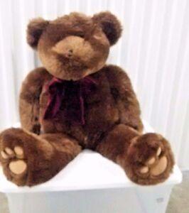 VTG-31-034-Large-Brown-Teddy-Bear-Chosun-Soft-Cuddly-Lovey-Cute-Plush-5th-Ave-NY