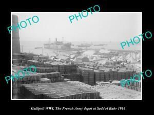 OLD-POSTCARD-SIZE-MILITARY-PHOTO-WWI-GALLIPOLI-FRENCH-DEPOT-SEDD-EL-BAHR-1916
