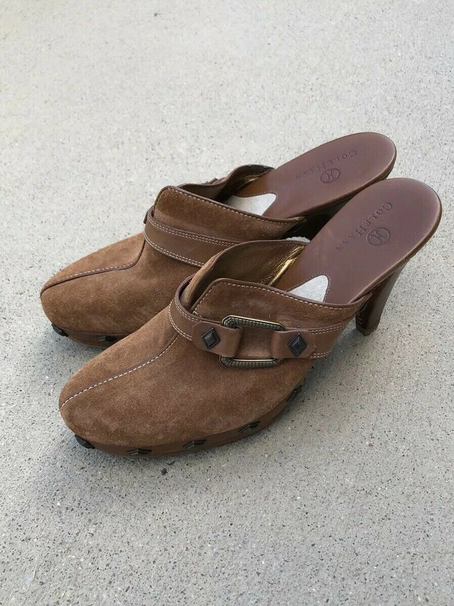 COLE HAAN Soft Smooth Brown Suede Leather Mule Clog Heels shoes 7