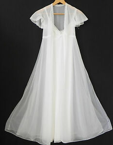 Vtg Tres Belle Night Gown/Robe Set Ivory Maxi Swing Size 2XS/XS