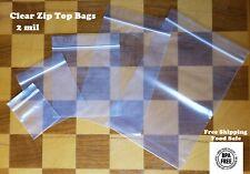 100 Clear Reclosable Zip Seal Bag Plastic 2 Mil Lock Bags Zipper Baggie 2mil