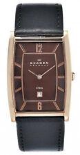 Skagen Men's Quartz Rose Gold Tone Stainless Steel Black Leather Watch 294LRLD1