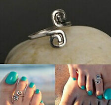 beautiful Vintage style infinity feet Ring curl toe ring gift sandal silver UK