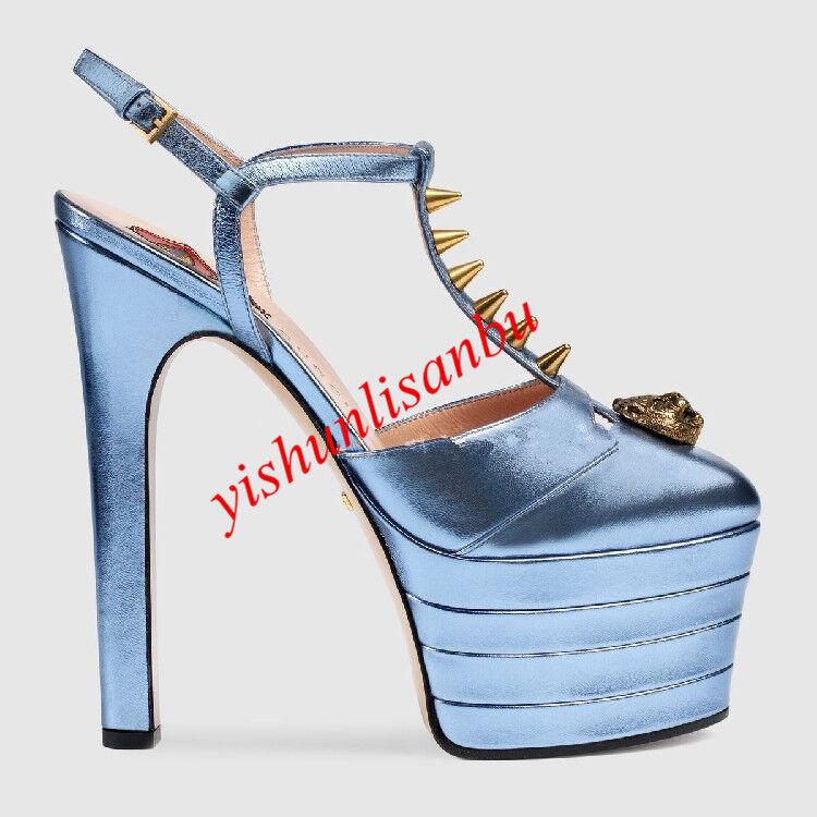 vendita outlet Sandalo in pelle con tacco plateau cinturino cinturino cinturino a T Tacco Alto a Spillo rivetti in metallo scarpe caldo  liquidazione fino al 70%