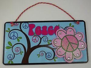 PEACE TEEN WALL SIGN BLUE PINK GIRLS ROOM LOVE HEART BEDROOM ...