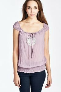 Woman-039-s-Smocked-Waist-Peasant-Top-Casual-Color-Lilac-Size-Medium-Free-Shipping