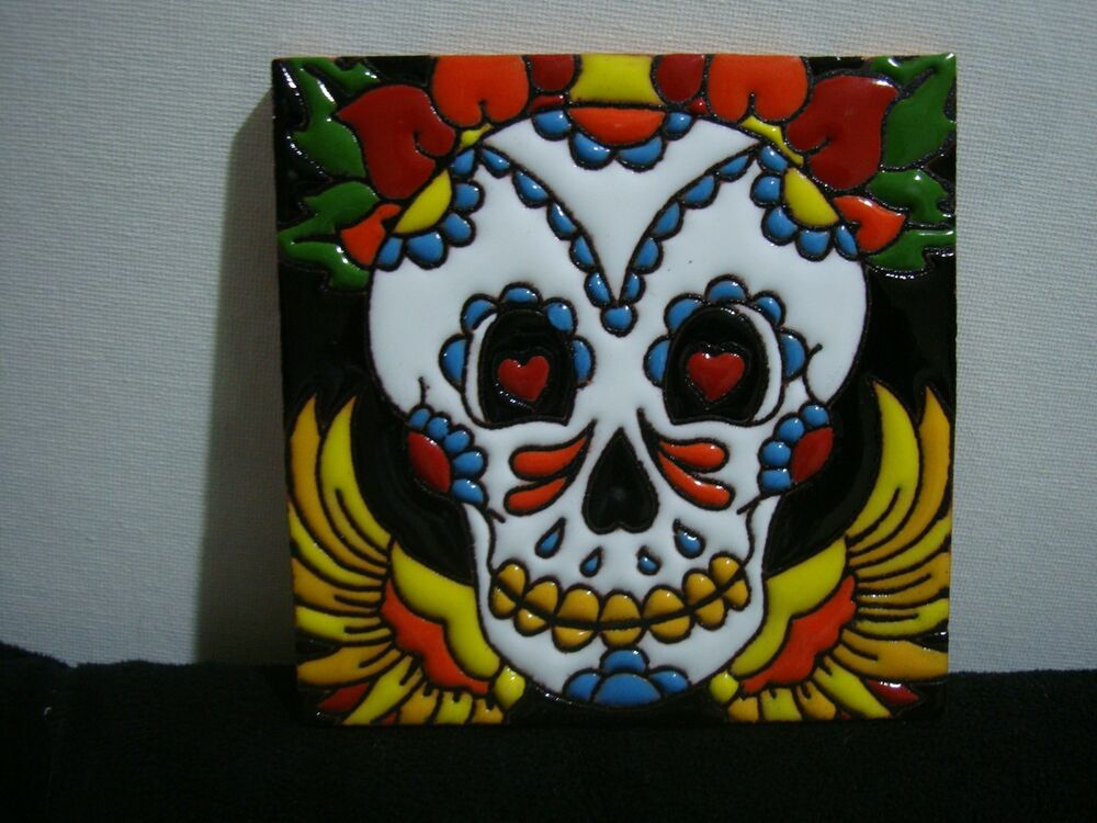 "4""X4"" Day of Dead Mexican Tile, Sugar Skull with wings Talavera, Dia Los Muertos"