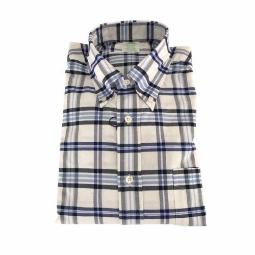 100 Cotone Usa blu Camicia Uomo Bianco In Made Brothers Quadri Brooks qOSw7Yq