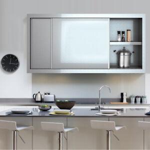Wall Mounted Stainless Steel Kitchen Cupboard Medicine Cabinet 2 Tiers Shelf Box Ebay