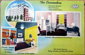1951-Linen-Postcard-Commodore-Apartment-Hotel-Interior-View-Omaha-Nebraska-NE
