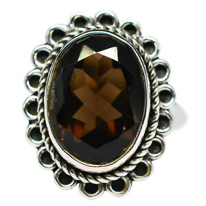 Ring-in-925-Sterling-Silver-with-smoky-quartz-ring-size-6-5-US-4-43-gms