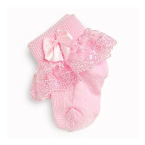 Frilly Lace Baby Girls Socks Pearl Ribbon Baby Socks Cream White Pink 000 to 2