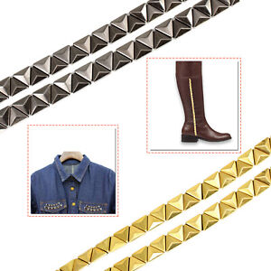 Triangle-Pyramid-Stud-Ribbon-Lace-Iron-On-12mm-Gunmetal-Gold-for-Leather-Clothes
