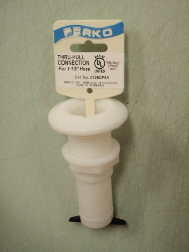 "THRU-HULL FITTING PERKO 9-0328DP6A WHITE PLASTIC 1-1//8/"" HOSE BARB MARINE BOAT"