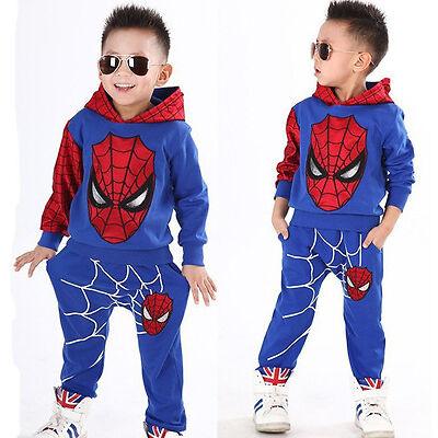 2Pcs Baby Boy Kids Spiderman Cosplay Costume Halloween Tops+Pants Trousers Set