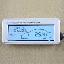 LCD Innen/Außen-Thermometer für Auto 12V/24V Silber Neu