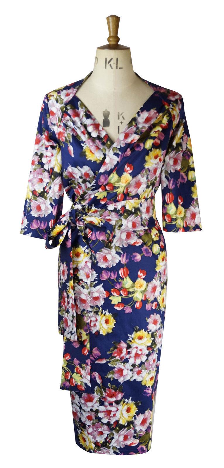 Baylis & Knight bluee pink Bouquet fixed wrap sweetheart wiggle bombshell dress