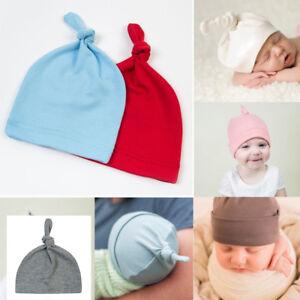 0e9f30e1161 Newborn Baby Knotted Beanie Hat Boys Girls Soft Cotton Cap Infant ...