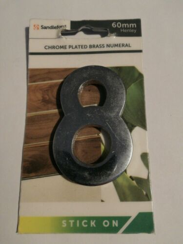 2.2 inches Sandleford Chrome Plated Brass Door Number 8 stick on 60mm