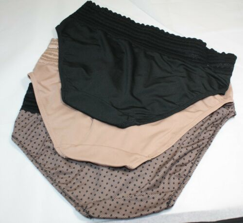 Details about  /New set of 3 WARNER/'S no muffin top HIPSTER panties BEIGE BLACK DOTS print