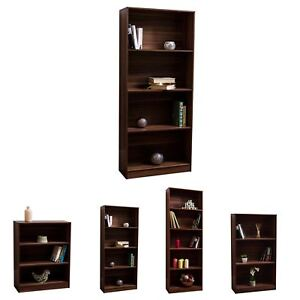 Cambridge Bookcase Display Shelving Storage Unit Stand Wooden Shelves Walnut