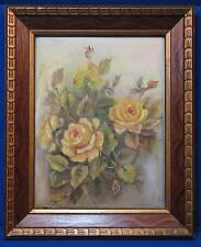 Vintage Yellow Rose Painting Wooden Frame Gold Bud Old Original Art Bush Texas