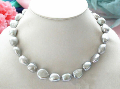 """18/"""" Real 8-9mm Natural Silver Gray Baroque Freshwater Cultured Pearl Necklace"""