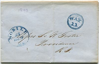 1849 INLAND WATERWAYS COVER: WAY 11 DOUBLE RIM CIRCLE, MOBILE > RI  COTTON k69