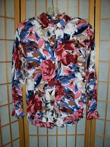 Vtg-1980s-Take-Away-CLASSY-BOLD-Op-Art-Florals-RAYON-LS-SHIRT-Blouse-Top-Sz-M