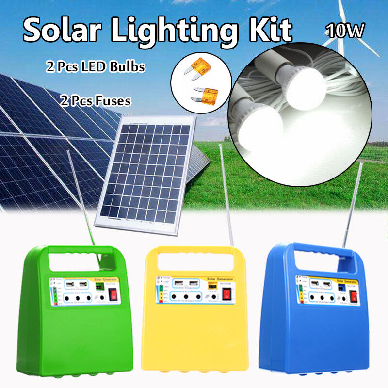 Solar Panel Storage Power Generator LED Lighting System USB Charger 2 Bulbs