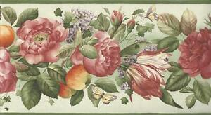 Wallpaper-Border-Fruits-amp-Florals-on-Green-with-Butterflies-with-Green-Trim