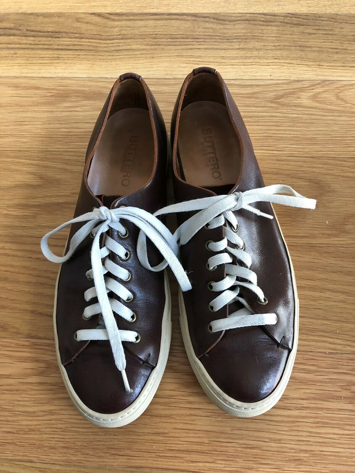 Buttero Tanino Low Sneaker, Size 42.5 US 11, Burgundy Leather, Made in