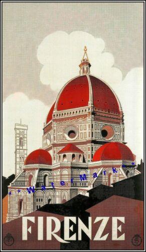Firenze 1930 Florence Italy Vintage Poster Print Travel Tourism Duomo Art