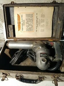 Vintage-Historical-Black-amp-Decker-3-4-034-Hammer-Heavy-Hammer-Drill-w-Case-103