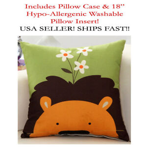 18x18 18 X18 Lion Leo Cat Daisy Kids Baby Zippered Throw Pillow Case Cushion Ebay