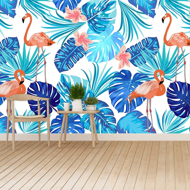 Vlies-Fototapete Fototapeten Tapete aus Vlies Poster Foto Flamingo und Blätter