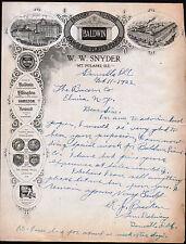 1922 Danville Il - Baldwin Pianos - M T Pulaski - R J Bracley Letter Head Rare