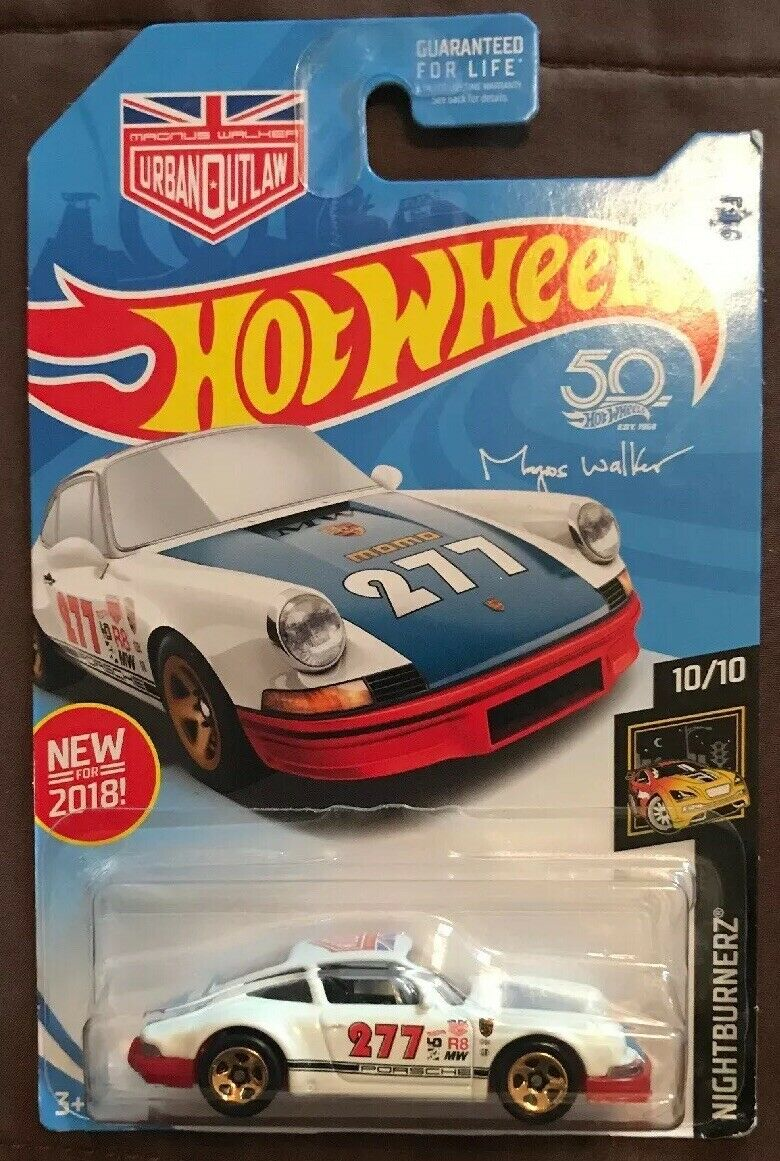 2018 Hot Wheels  235 Nightburnerz '71 PORSCHE 911 Weiß w Gold 5 Spoke 50th Anni