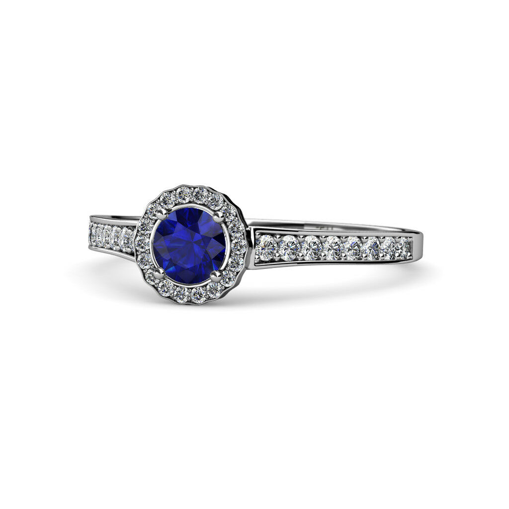 bluee Sapphire and Diamond Womens Halo Engagement Ring 0.97 ctw 14K gold JP 68177