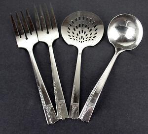 Set-4-x-Serving-Pc-Tomato-Meat-Fork-Ladle-Oneida-Nobility-Caprice-1937-vintage