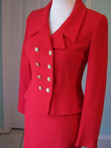 St. John 2 4 Skirt Suit Jacket Red 2016 Black Labe