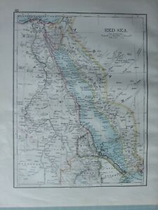 Details zu 1899 VICTORIAN MAP ~ RED SEA ARABIA EGYPT SINAI PENINSULA MOUTHS  OF THE NILE