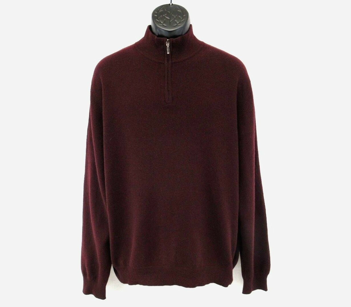 Joseph & Lyman 100% Cashmere Half Zip Maroon Sweater Men's Size XL  C440