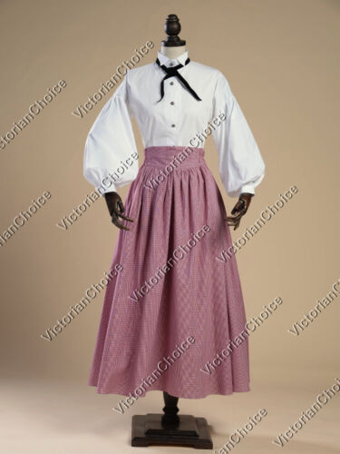Edwardian Downton Abbey Plaid Dress Skirt Titanic Theater Halloween Costume 314 $134.85 AT vintagedancer.com